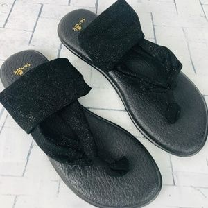 SANUK Black & Gold Sparkle Yoga Sling Sandals NWOB